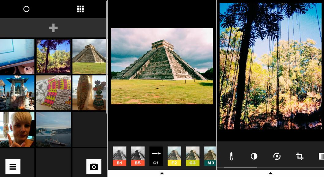 <strong>BRUKERGRENSESNITTET:</strong> Fra venstre ser du skjermbilder av biblioteket, så et bilde med filtervalg og til slutt et bilde med redigeringsverktøyene. Foto: KIRSTI ØSTVANG