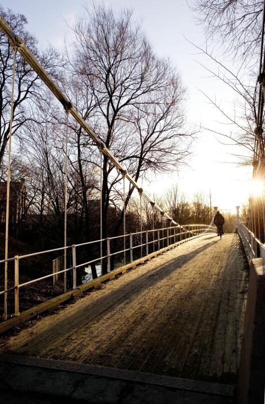 """<strong><strong>GOD START PÅ DAGEN:</strong></strong> Å sykle til og fra jobb gjør at du er """"ferdigtrent"""" når du kommer hjem. Bildet viser Aamodt bro ved Akerselven i Oslo.   Foto: PantherMedia.com"""