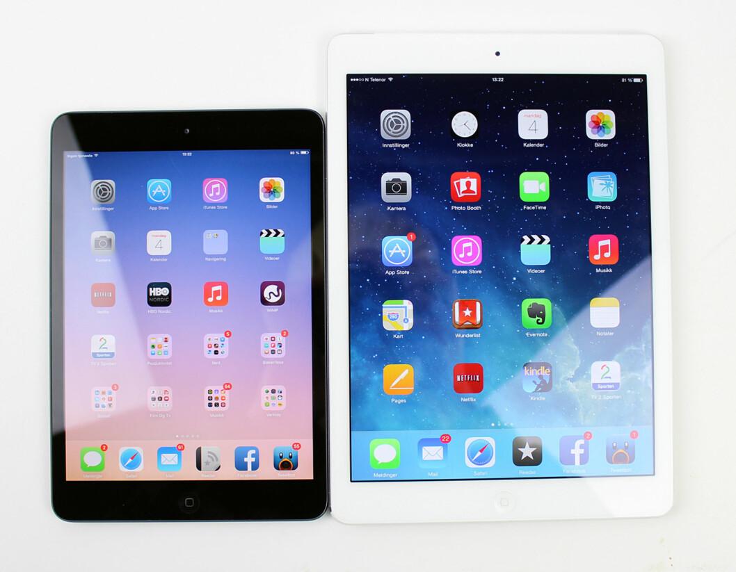 Lille-iPad og store-iPad har nå samme fysiske egenskapene, bortsett fra skjermstørrelsen, da.   Foto: KIRSTI ØSTVANG