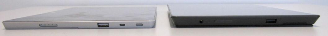 Surface 2 er vesentlig tynnere enn Surface 2 Pro (til høyre)