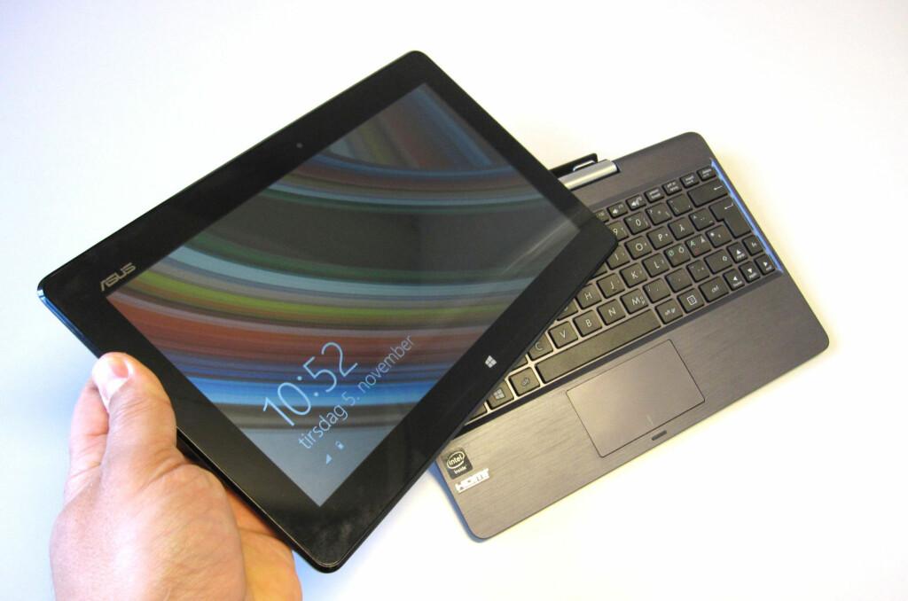 Det er mye å like ved T100. Bare det at et brett på en halv kilo kjører full Windows 8.1, uten behov for viftekjøling, er fascinerende nok. Foto: Bjørn Eirik Loftås