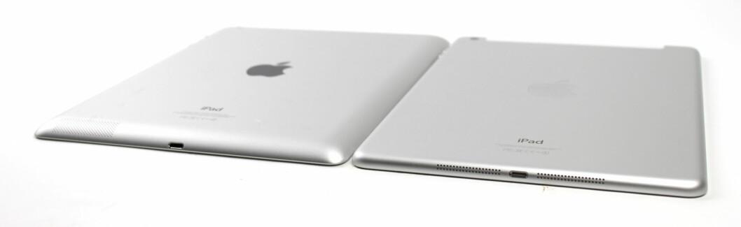 Baksiden på iPad Air består fremdeles av et stort stykke aliminium, men kantene er mer avrundede, og også mer behagelig å holde i. Den hvite modellen har sølvfarget aluminium, mens den svarte modellen har en mørkegrå variant. Foto: KIRSTI ØSTVANG