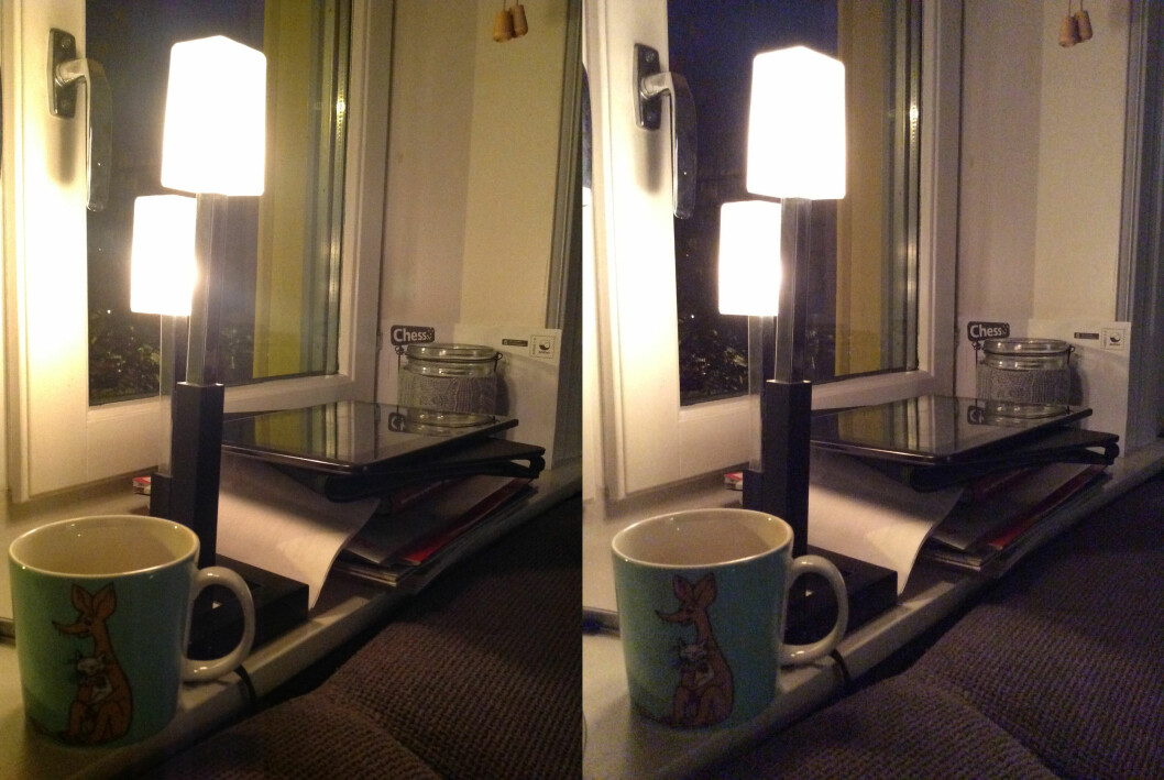 iPad 4 til venstre, iPad Air til høyre. Lysfølsomheten er såvidt bedre, og det er mindre gulstikk. Dessverre er det like mye rot på begge bildene. Foto: KIRSTI ØSTVANG