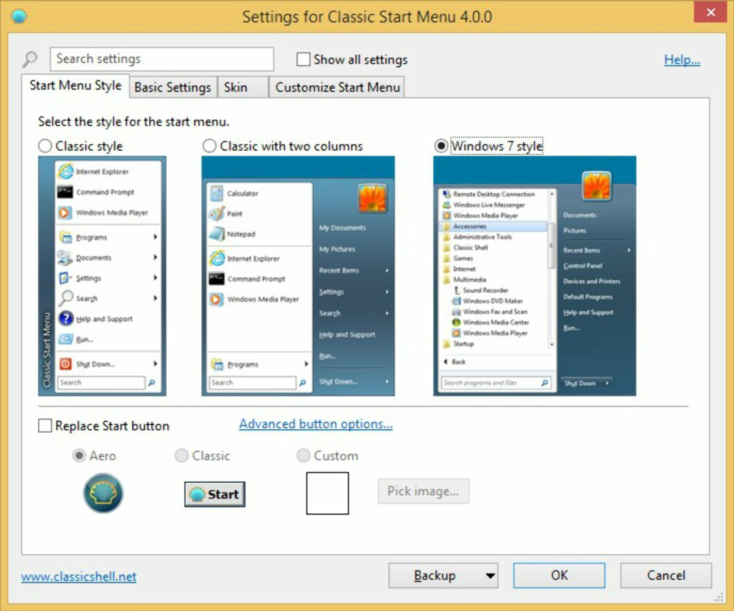 Classic Shell 4.0 forvandler Windows 8.1 til Windows 7