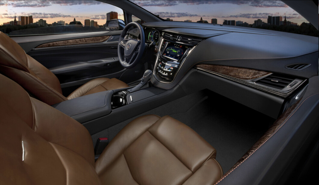 The 2014 Cadillac ELR's 2+2 layout is driver-focused and luxurious – distinctive for its craftsmanship and connectivity. The leather-trimmed interior blends authentic chrome and wood accents – and available carbon fiber trim – as well as a sumptuous microfiber headliner and steering wheel covered in leather and sueded microfiber. The ELR is the industry's only electric vehicle offered by a full-line luxury automaker. Production starts in late 2013.