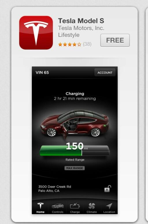 Slik ser app-en til Tesla Model S ut. Foreløpig er den kun å få i amerikansk app-store, men det kommer en europeisk tilpasning om en tid. Foto: Knut Moberg