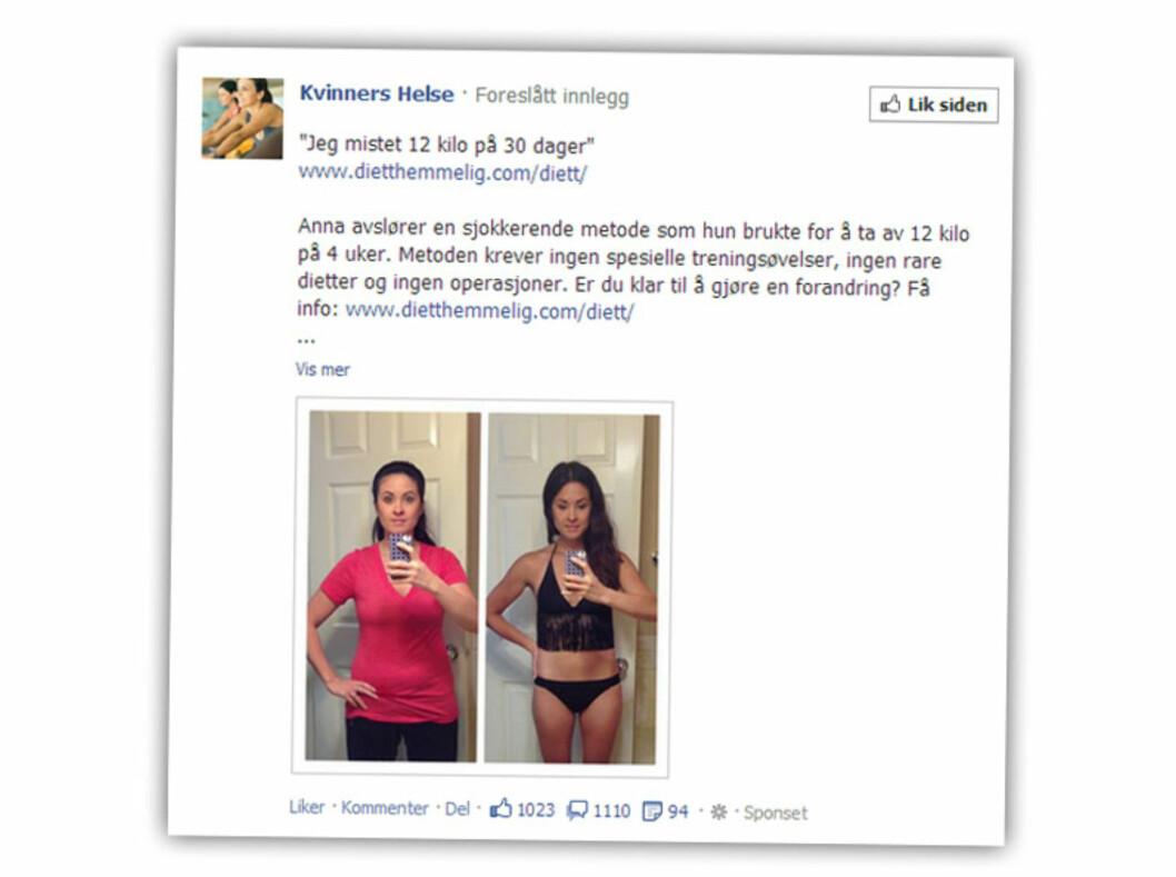 """Dette før/etter-bildet fra Kvinners Helse skal hinte om en """"sjokkerende"""" slankemetode."""
