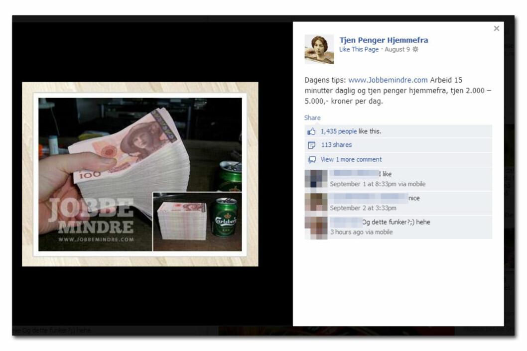 """""""Tjen penger hjemmefra"""" lover annonsen, men bildet er manipulert til å se ut som norske penger."""