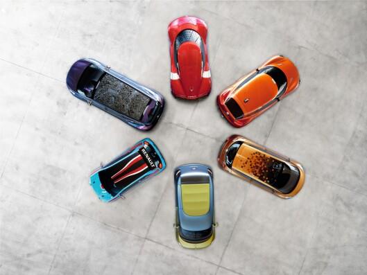 """""""Blomsten"""" som konseptbilene danner skal representere ulike faser i livet. Foto: Renault"""