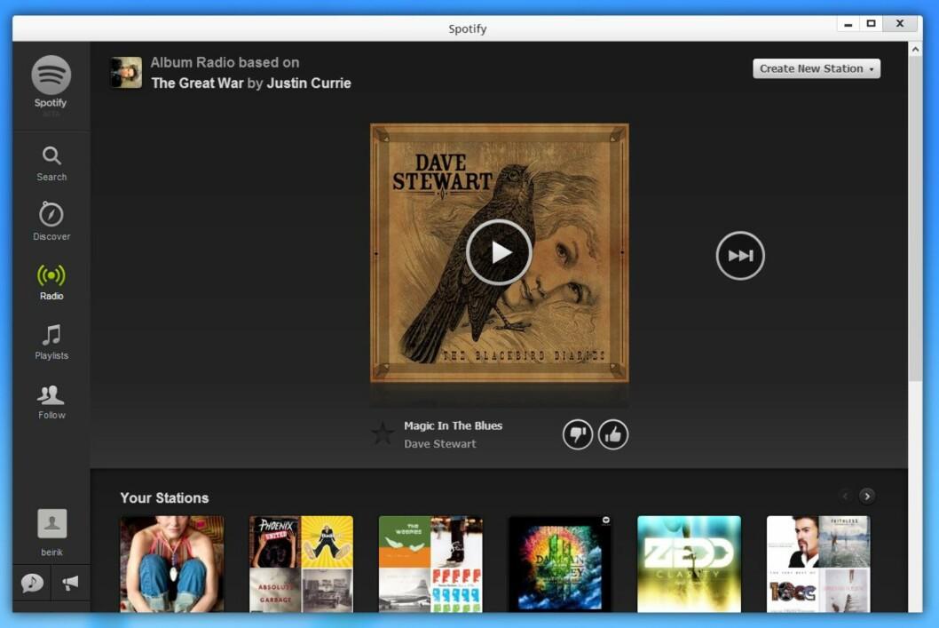 web-apps åpnes i noe som ligner vanlige programvinduer, her Spotify.