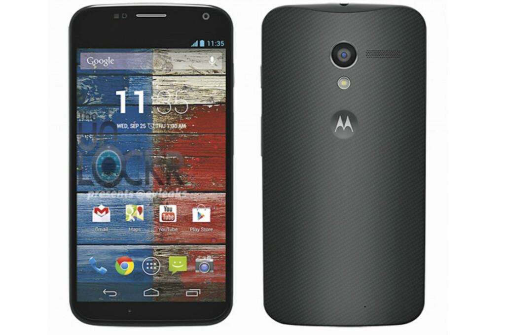 Slik ser den nye Google-telefonen, Moto X, ut. Den er den første smarttelefonen som er produsert i USA på mange år. Foto: Motorola