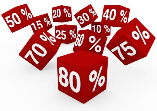 <strong>SPILLER INGEN ROLLE:</strong> Hvor mange prosent en pris har blitt nedsatt er irrelevant. Det er prisen slik den er nå du betaler.  Foto: All Over Press
