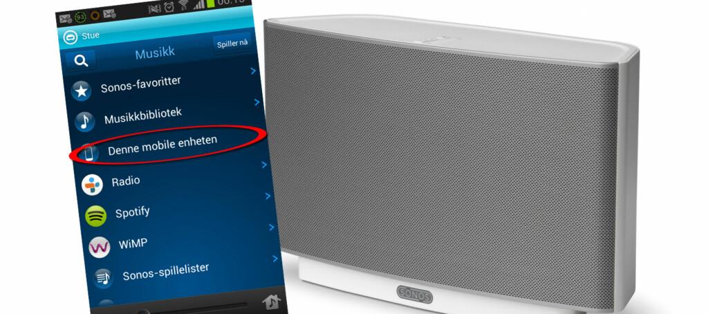 Sonos-appen for Android har plutselig fått et nytt menyvalg.  Foto: Sonos/Kirsti Østvang