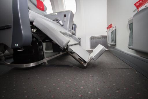 Dette er Norwegians nye Premium-seter om bord i Dreamliner. Foto: Gaute Beckett Holmslet