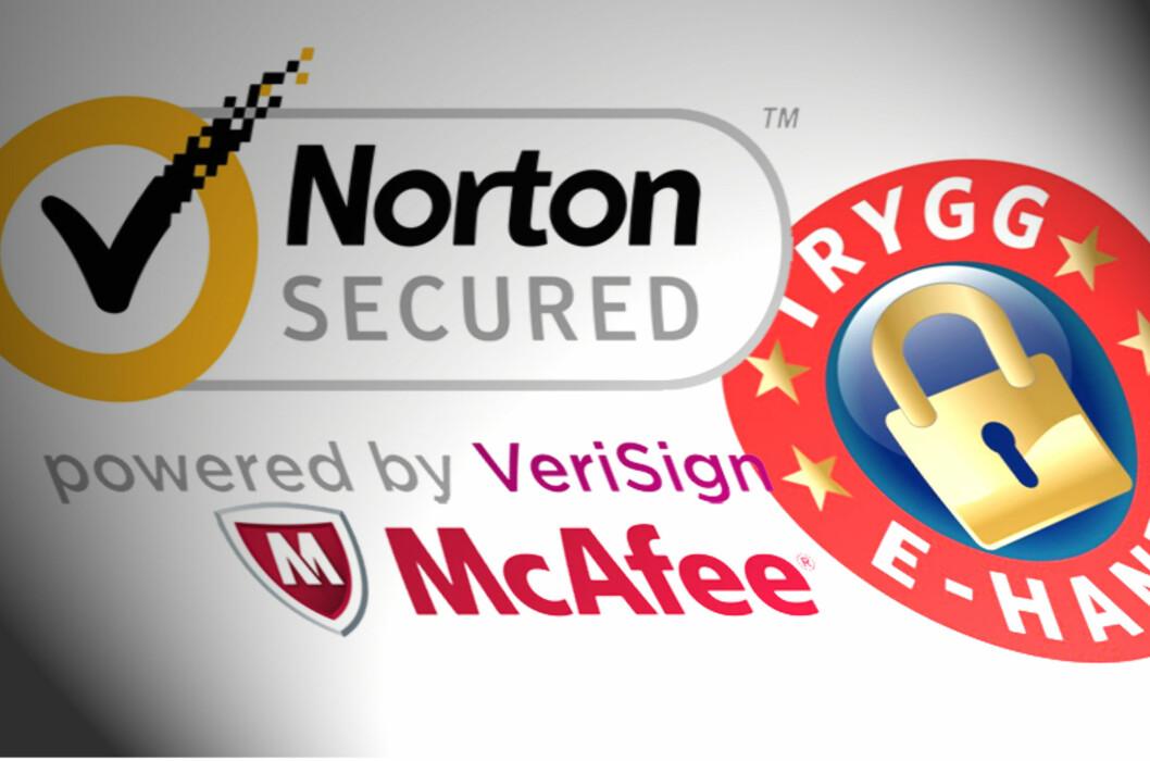 Disse merkene trenger ikke bety at du er sikker. Enkelte nettbutikker som forsøker å svindle forbrukere bruker falske sertifiseringsmerker fra Norton, McAfee eller Trygg E-handel, advarer Forbrukerombudet. Foto: Karoline Brubæk