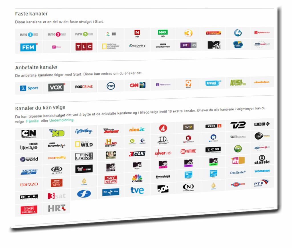 Startpakken består nå av 20 faste kanaler, og 20 som du selv kan velge.  Foto: Get