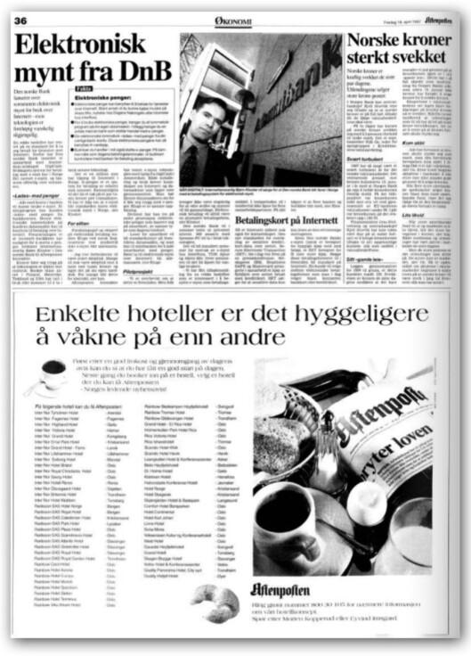 <strong>STOR STÅHEI:</strong> E-mynt fikk mye oppmerksomhet da det først ble lansert, som her i Aftenposten i 1997.  Foto: Arkivet på Aftenposten.no