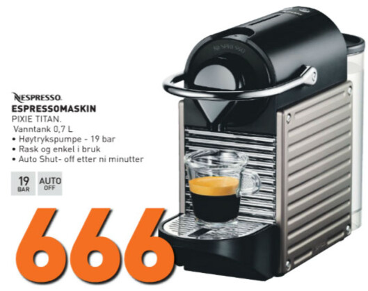 Nespresso Pixie.  Foto: Expert.no