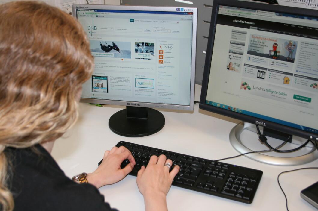 Vi har brukt noen dager i nettbanken til DNB og Skandiabanken. Begge er gode, men vi synes at DNB er hakket hvassere.  Foto: Berit B. Njarga