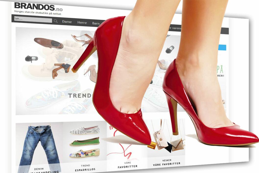Brandos tjener sine penger på å selge sko over nett. Nå er selskapet i finansielle problemer. Foto: Brandos.no/Colourbox.com