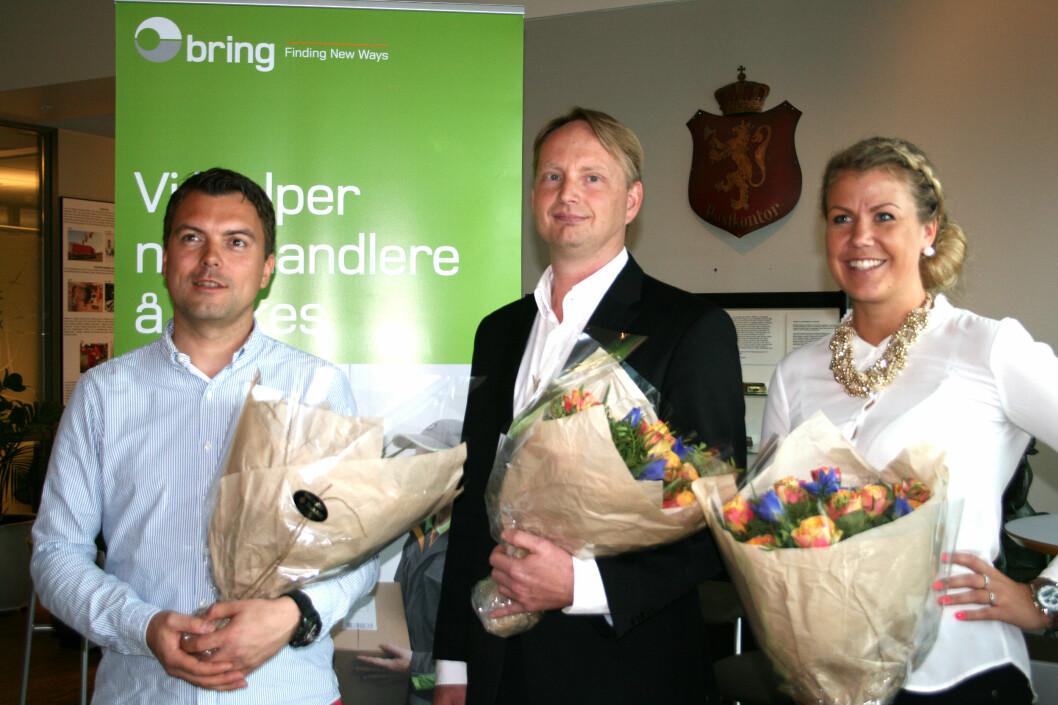 <strong>Tre finalister, én vinner:</strong> Fra venstre Bjørn Henning Rørvik i Kmplett, Filip Elverhøy i NetonNet og Maria K. Ebbestad i Kondomeriet. Foto: Berit B. Njarga