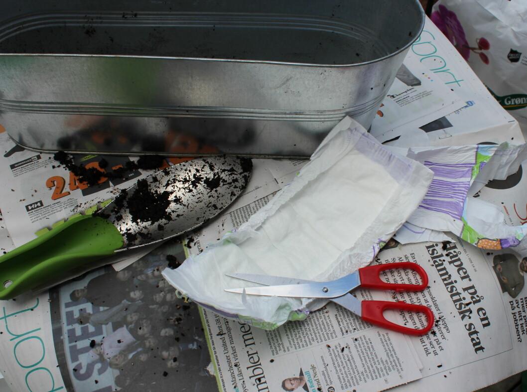 Den andre blomsterkassen er det litt mer jobbing med. Vi klipper av alt overflødig rundt den delen av bleien som er laget av et oppsugende materiale. Foto: Elisabeth Dalseg