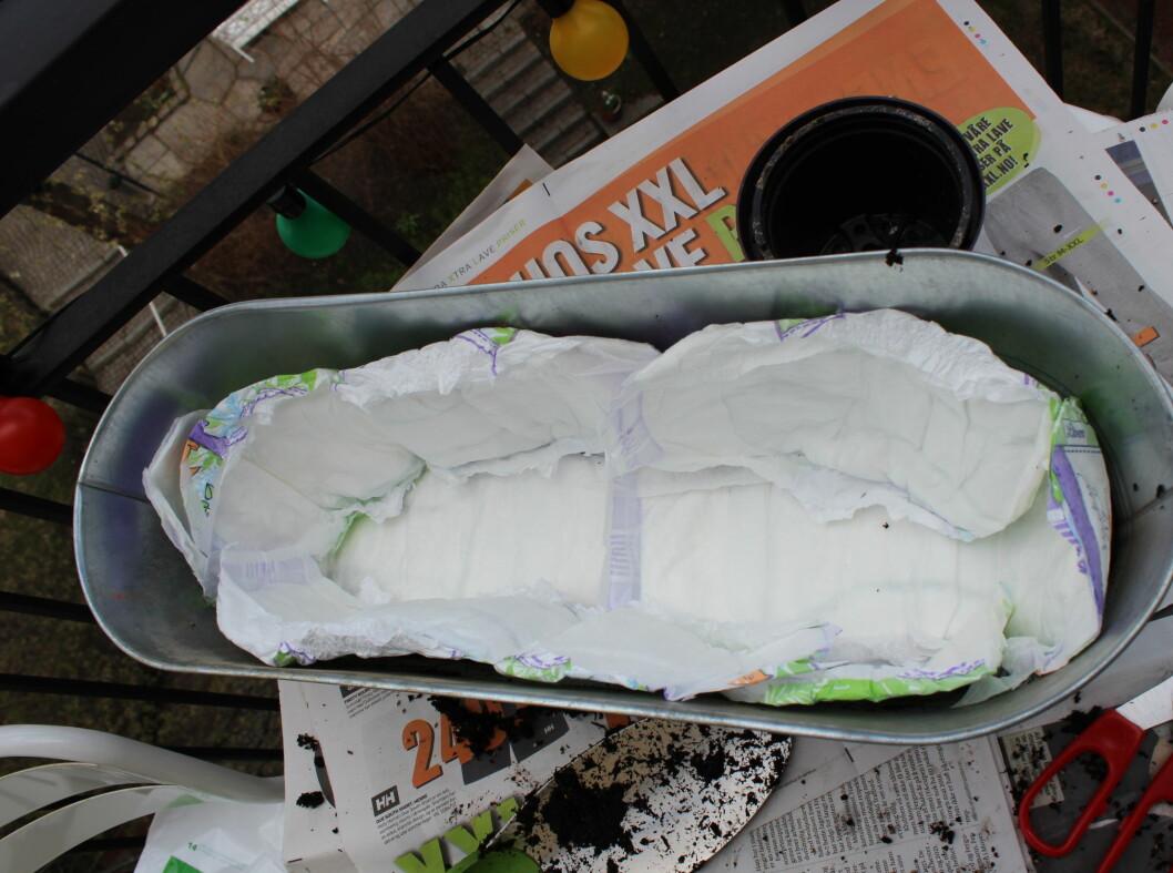Og kler blomsterkassen med bleier. Vi brukte totalt fem bleier.  Foto: Elisabeth Dalseg