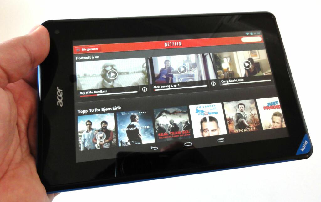 Brettet fungerer fint til video. Her: Netflix. Foto: BJØRN EIRIK LOFTÅS