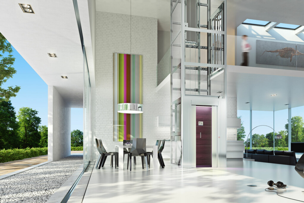 Det er lettest å integrere heisen i interiøret om du bygger nytt, men det går også fint å etterinstallere om du er villig til å ofre en kubikkmeter eller fem. Foto: ThyssenKrupp Access