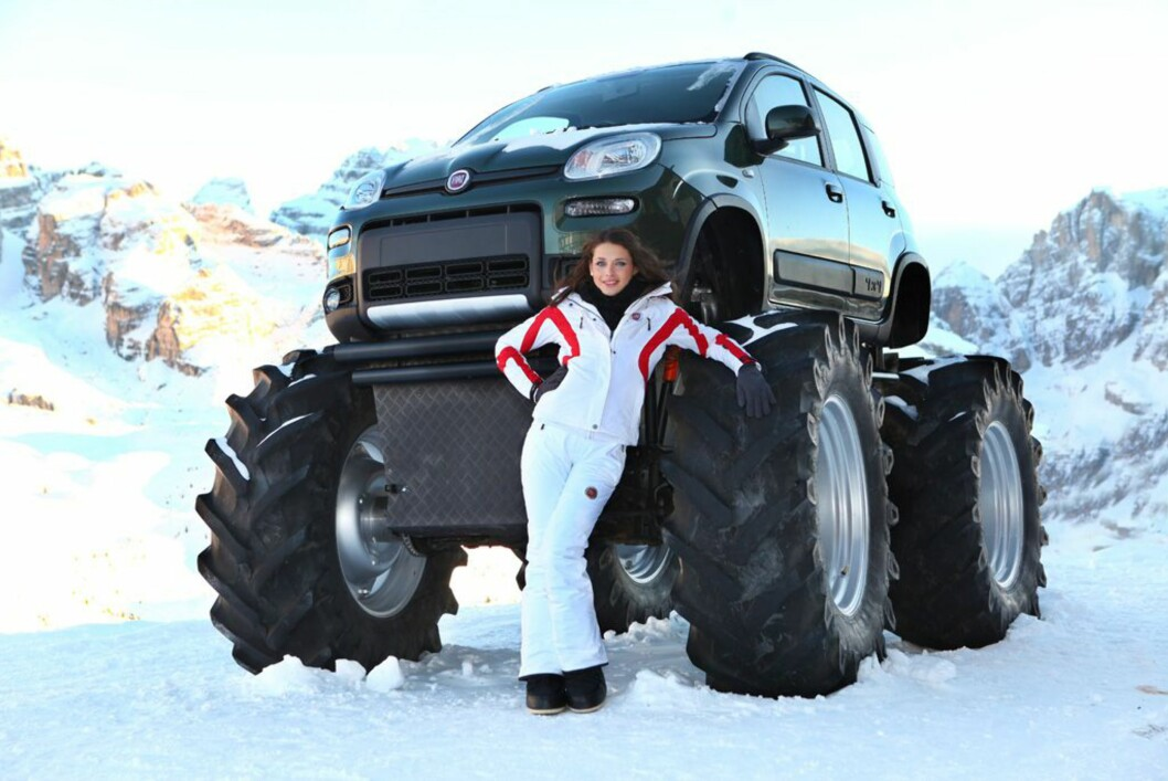 Fiat har laget en monstertruck av Fiat Panda, kun for show selvfølgelig.  Foto: Fiat