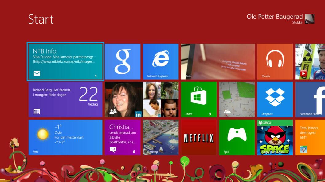 Windows 8, med sine fliser og apper, ser foreløpig ikke ut til å bli noen stor suksess.  Foto: Ole Petter Baugerød Stokke