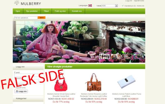 <strong><b>Kopien:</strong></b> Her er Mulberrys egne produktbilder misbrukt. Tilbud som ser for gode ut til å være sanne er som regel det.