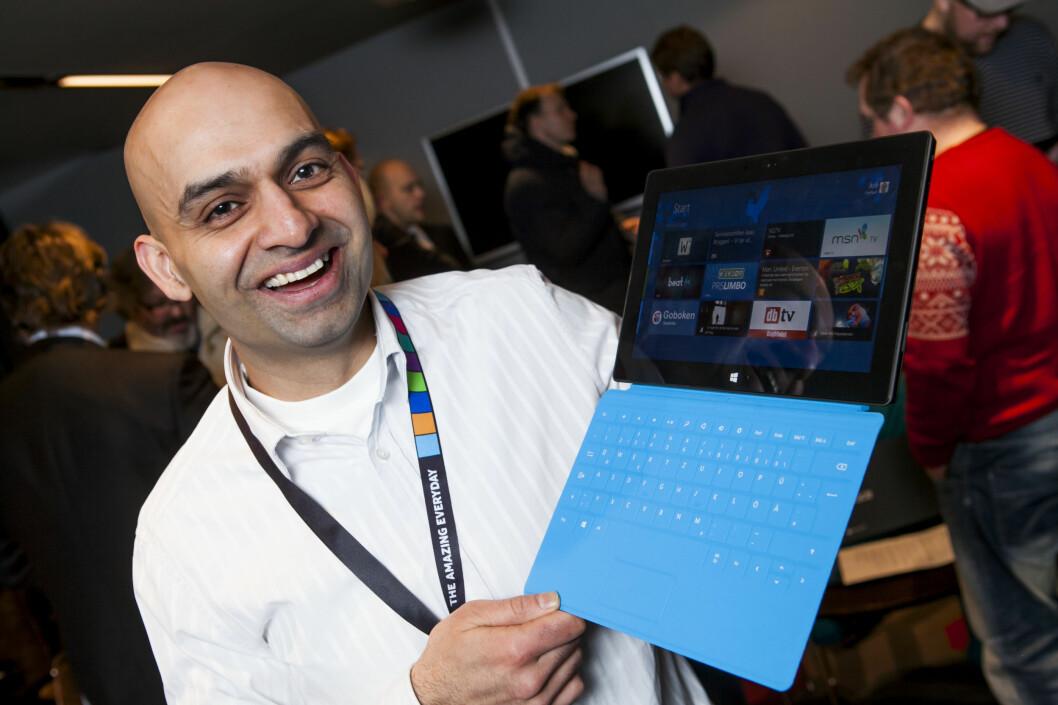 <strong>NORSK:</strong> Evangelist Arif Shafiq hos Microsoft jobber med å få norske utviklere til å lage norske apper for Windows RT. Blant annet Wimp og mediehus som VG.  Foto: Per Ervland