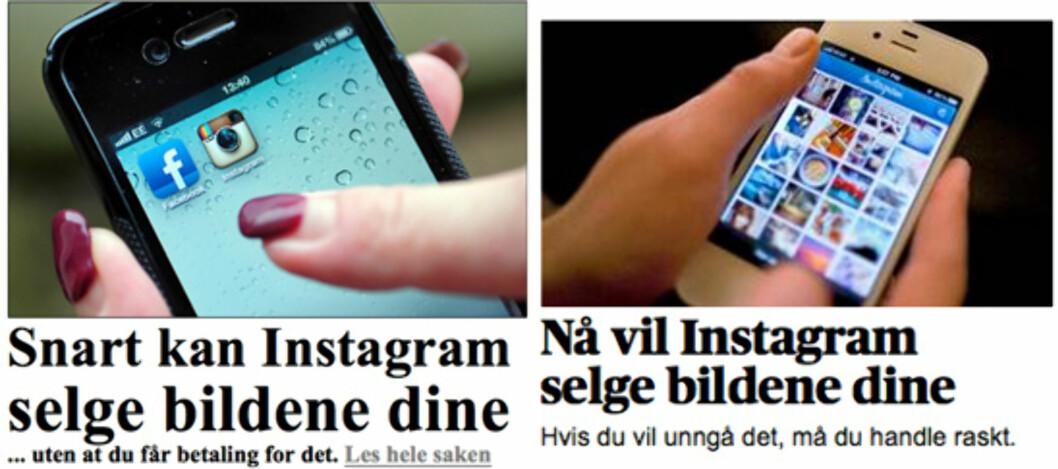 Både VG (venstre) og Aftenposten (høyre) har i dag saker om at Instagram nå kan selge bildene dine.