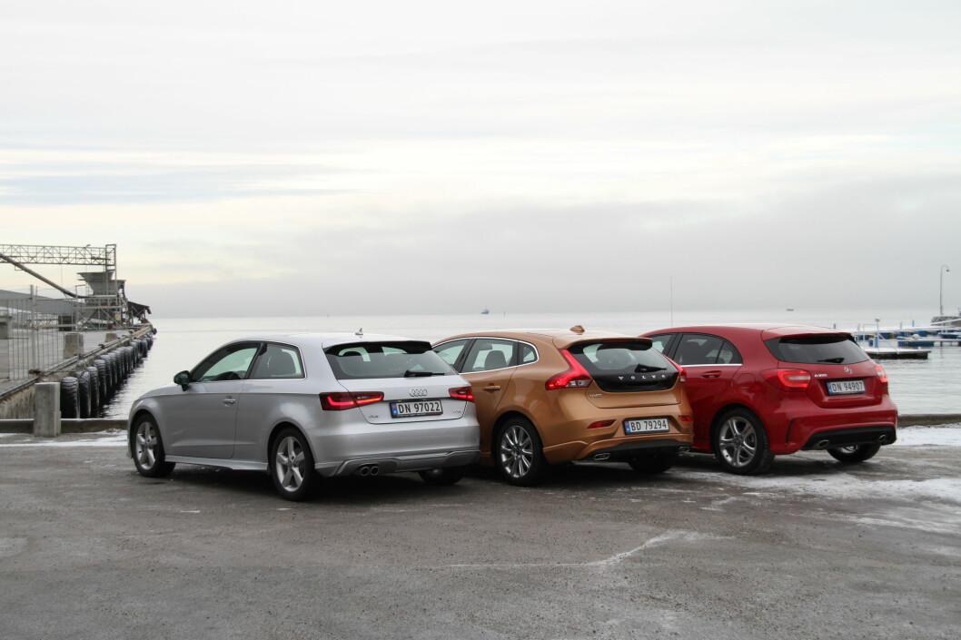 <strong>DRAR OPP GOLF-KLASSEN:</strong> På tampen av året har denne trioen - Audi A3, Volvo V40 og Mercedes A-klasse - oppgradert kompakt-segmentet på en merkbar måte. Foto: Fred Magne Skillebæk