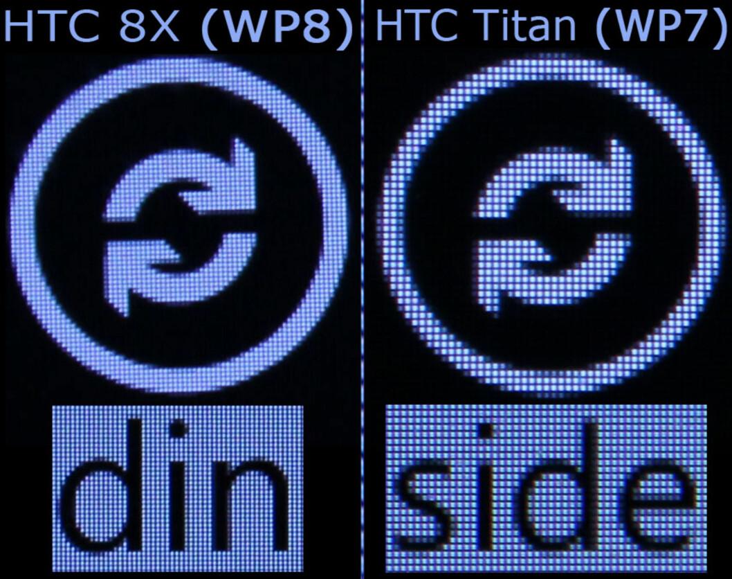 WINDOWS PHONE 7 vs. 8: Her ser du gamle Windows Phone på HTC Titan til høyre, og nye Windows Phone på 8X til venstre. Dette er blåst krafit opp, men forskjellen er stor også for det blotte øye.  Foto: Ole Petter Baugerød Stokke