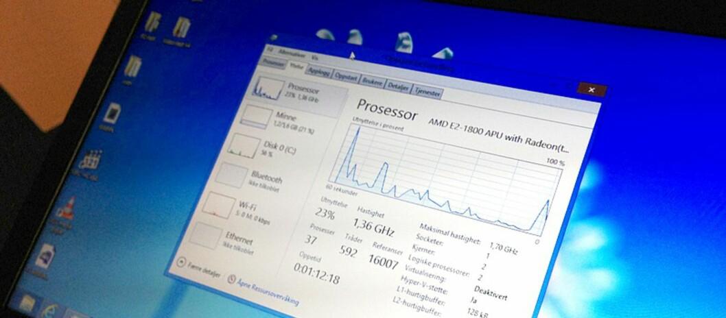 Billig-PC-en vår hadde godt av å bli utstyrt med Windows 8, spesielt oppstartstid og batteritid har vist seg å være kraftig forbedret. Foto: Bjørn Eirik Loftås