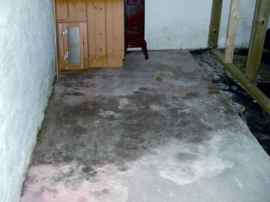Det er ikke alltid du kan se det, men skulle du få fuktgjennomslag i gulvet, kan det se slik ut.  Foto: Sintef Byggforsk