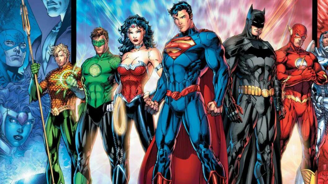 <strong>SUPERGJENG:</strong> Superhelter som Superman, Batman, The Green Lantern, Cyborg, Wonder Woman, Aquaman og Flash har alle vært en del av «The Justice League». Nå offentliggjør Warner at de definitivt skal lage film av tegneserien. FOTO: DC COMICS