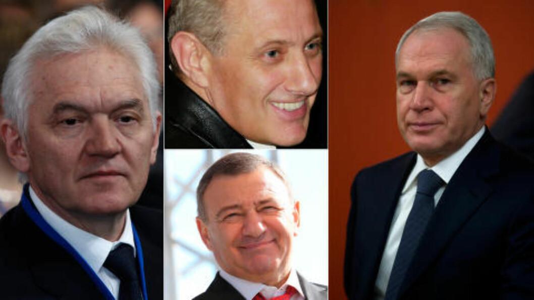 135,5 MILLIARDER: Gennadij Timsjenko (t.h), brødrene Boris og Arkadij Rotenberg og Yuri Kovalsjuk har til sammen en formue på 135,5 milliarder. Forretningsmennene har blitt plassert på sanksjonslistene på grunn av sitt tette forhold til Vladimir Putin. Foto: NTB Scanpix