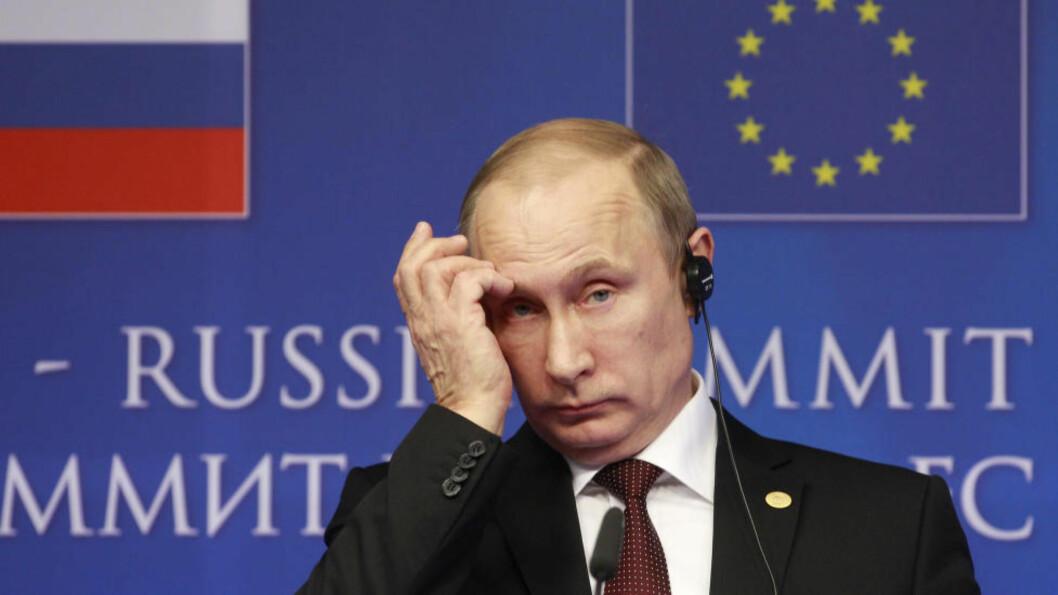 <strong>KREVER MØTE:</strong> Russlands president, Vladimir Putin, krever møte i FNs sikkerhetsråd om krisa i Ukraina. Ap Photo/Yves Logghe