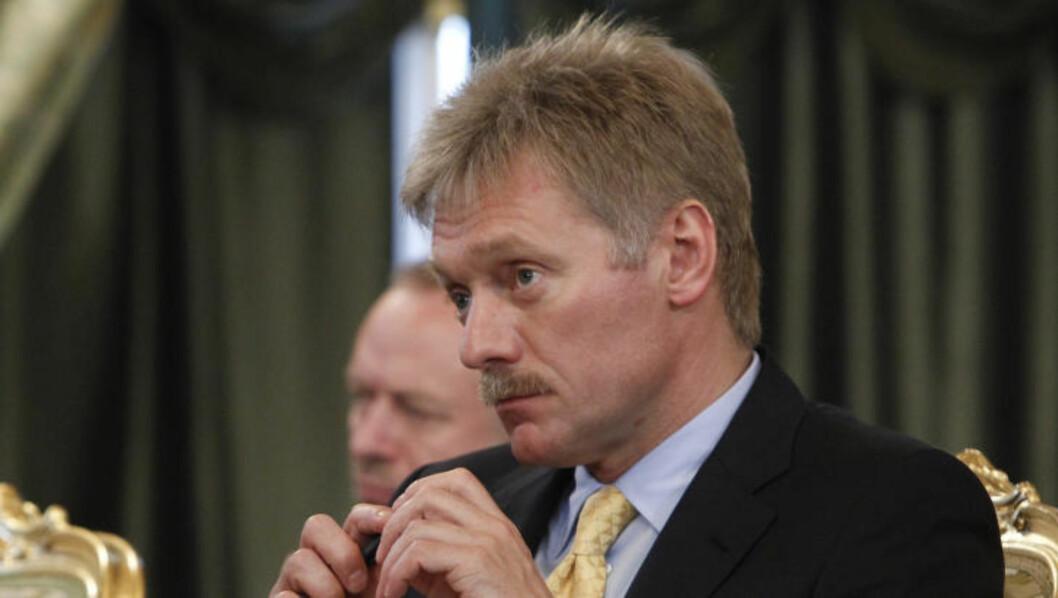 <strong>MISTET KONTROLLEN:</strong> Dmitry Peskov er president Putins talsmann. Han hevder Russland har mistet all innflytelse på de pro-russiske separatistene. Foto: AP Photo/Maxim Shemetov/NTB scanpix