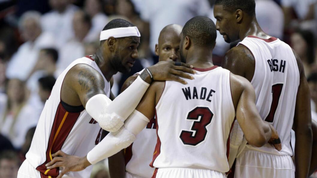 <strong>SEIER:</strong> Miami Heats LeBron James, Dwyane Wade, Chris Bosh og Ray Allen. Foto: AP Photo/Lynne Sladky