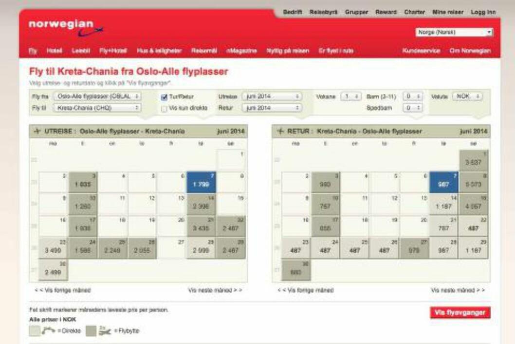 <strong>LAVPRISKALENDER:</strong> Det kan lønne seg å sjekke selskapenes egne websider og lavpriskalender for å finne billigste avreisedag. Skjermdump: NORWEGIAN