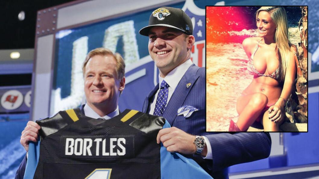 <strong>TIL NFL:</strong> Quarterbacken Blake Bortles er klar for Jacksonville Jaguars - men kjæresten er ifølge ham selv mer kjent. Foto: NTB Scanpix/Instagram/Privat