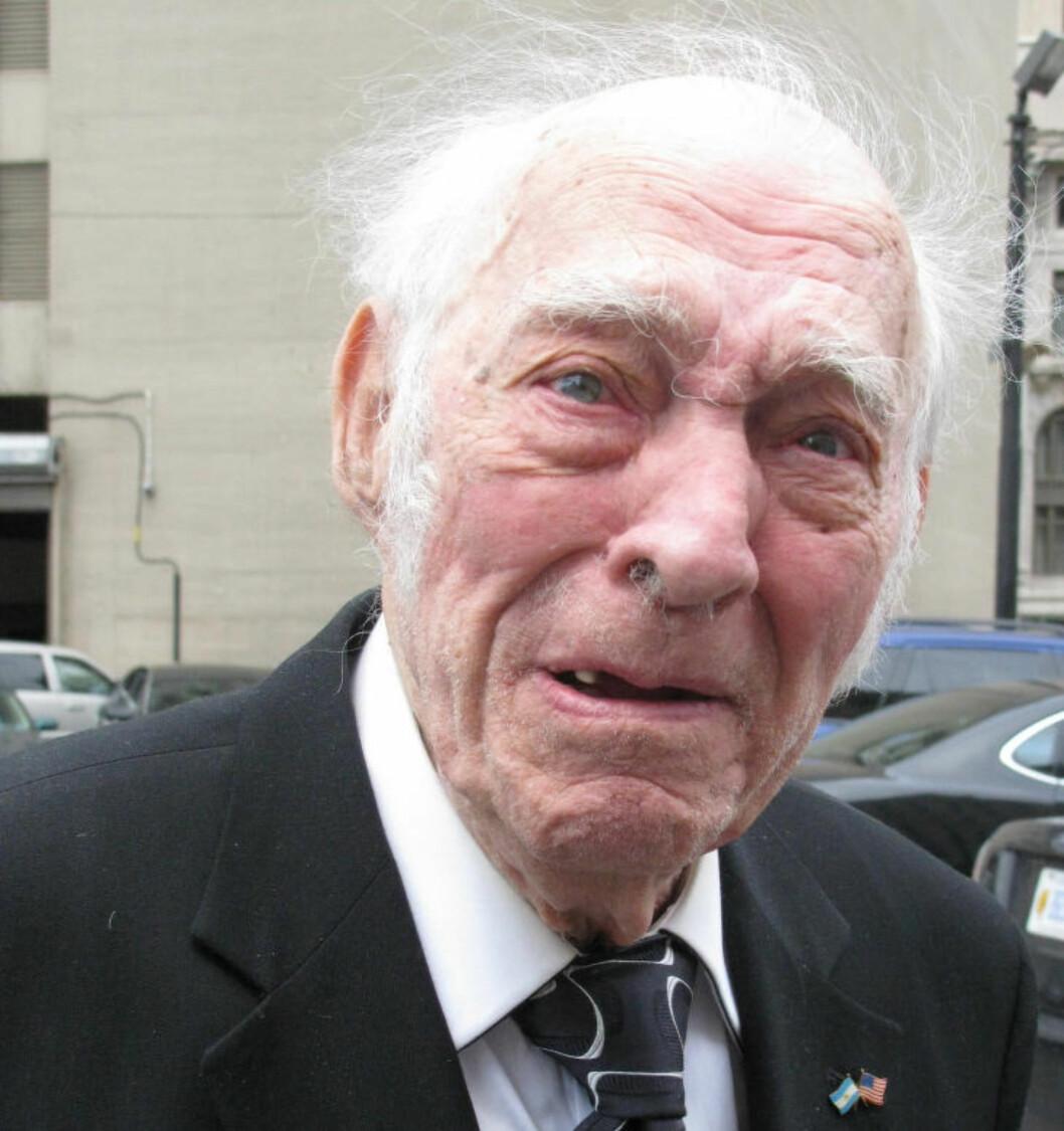 <strong>DØMT:</strong> 90 år gamle Leo Sharp innrømmet å ha vært kurér for en meksikansk narkoorganisasjon, og ble onsdag dømt til tre års fengsel i Detroit. Foto: AP Photo/Ed White