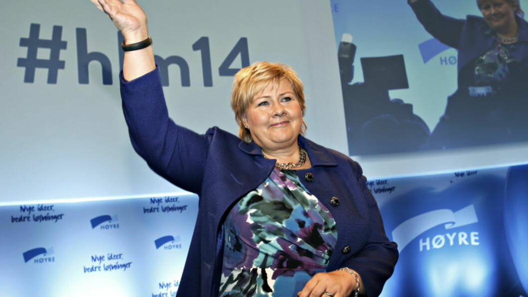 <strong>APPLAUS:</strong> Høyres Landsmøte. Erna Solberg høster stor applaus for sin tale til landsmøte. Foto: Jacques Hvistendahl / Dagbladet