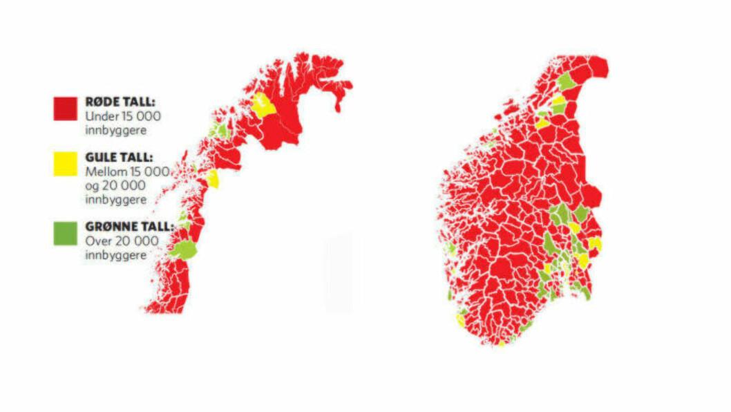 <strong>FÆRRE KOMMUNER:</strong> De fleste kommuner i Norge har under 15 000 innbyggere. Regjeringens ekspertutvalget foreslå at disse slås sammen til større kommuneenheter. Sanner har slått fast at han ikke vil følge dette rådet til prunkt og prikke, men det er på det rene at regjeringen ønsker seg større og færre kommuner. Grafikk: KJELL ERIK BERG / OLA STRØMMAN