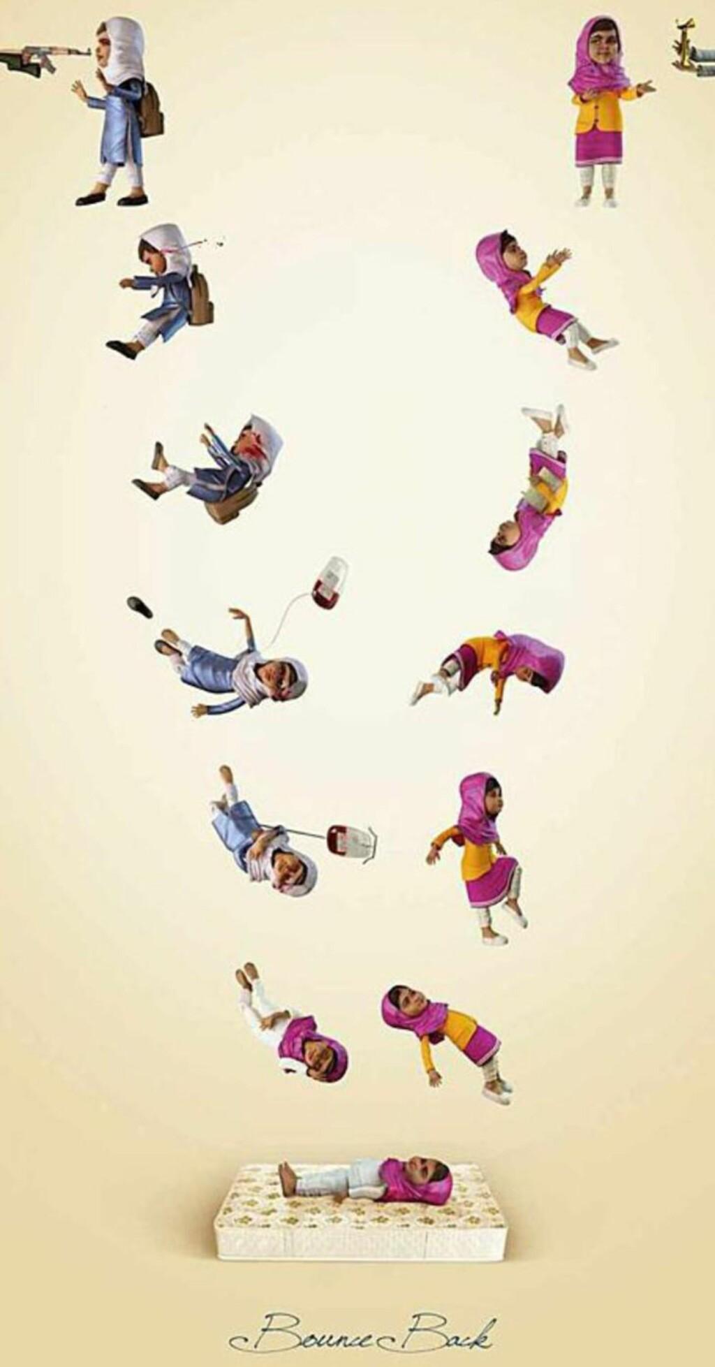 - EN SANN HENDELSE: Selskapet som laget reklamen, sier de handler om å overvinne vold. Men det er ikke alle som synes det var riktig å vise Malala bli skutt i en «humoristisk» reklame.
