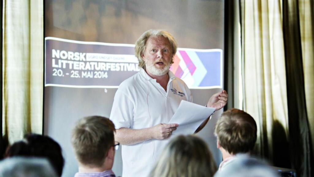 SLO AN: Forfatter Torgrim Eggen framførte The Siv-Erna experience på Litteraturfestivalen på Lillehammer, men det var kulturministeren og kulturpolitikken til den blåblå regjeringen som fikk gjennomgå.   Foto: Nina Hansen / Dagbladet